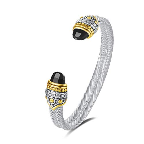 UNY Designer Inspired Jewelry Double Cable Wire Facet CZ Antique Bangle Elegant Beautiful (Black)