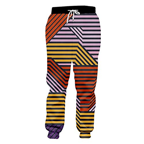 XLKIE23D Man Sport Joggingbroek 3D Volledige Gedrukte Kleurrijke Strepen Mannen Polyester Broek Grote Maat Broek
