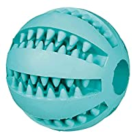 Mint flavour ball Made of natural rubber Massages the gums Helps keep your dog's teeth clean and promotes dental hygiene Diameter: 6 cm
