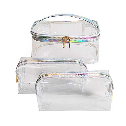 Asudaro Kosmetiktasche Handtasche Frauen PVC Durchsichtig Make-up Tasche Etuis Wasserdicht Schminktasch Reise Kulturbeutel Kosmetikkoffer Wäschesack Waschbeutel