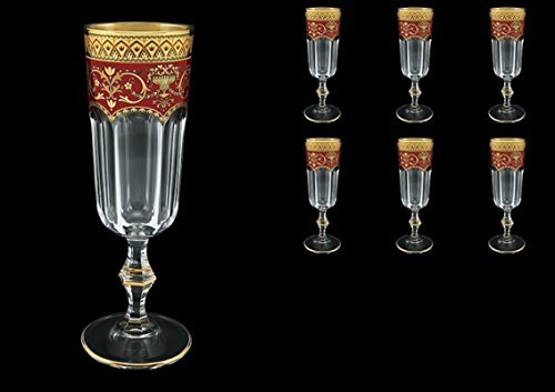 Exclusive Crystal Flutes à Champagne Provenza en en Flora's Empire OR Decor rouge 160 ml