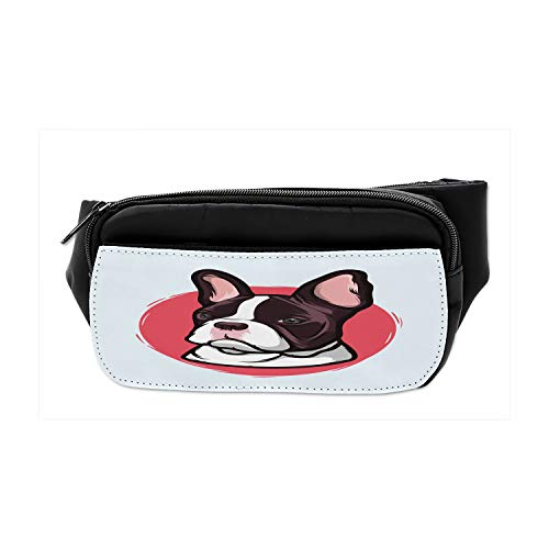 Ambesonne Animal Bumbag, French Bulldog Hipster, Fanny Pack Hip Waist Bag