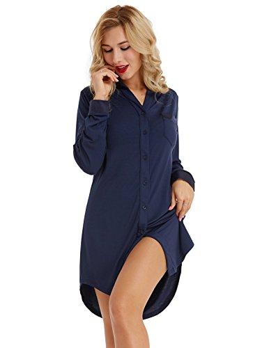 Zexxxy Nachtkleid Langarm Damen Kurz Nachthemd Schlafshirt V-Ausschnitt Schlafhemd mit Brusttasche Dunkelblau S