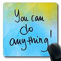 マウスパッド水彩画やる気を起こさせるメッセージ何でもできるアクティビティ青長方形長方形ゲーミングマウスパッド滑り止めラバーマット