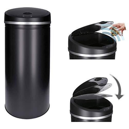 Sensor Abfalleimer 30L 40L 50L 60L galvanisierter Stahl lackiert | rostfrei | automatisches öffnen/schließen (Schwarz, 40 Liter)