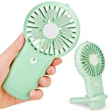 Aluan Handheld Fan Mini Portable Fan Powerful Small Personal Fans Speed Adjustable Rechargeable Battery Operated Eyelash Fan for Kids Women Men Indoor Outdoor Travel Cooling with Lanyard, Green