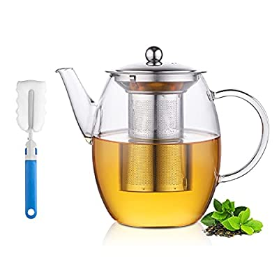 Glass Teapot with Removable Stainless Steel Infuser, 1450ml Stovetop Safe Tea Kettle with Handle for Blooming and Loose Leaf Tea Brewer