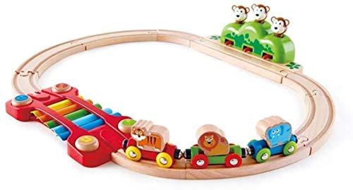 LSZ Tren Tren Jungle Music Set Brain Game Color de Madera Diapositiva Infantil Temprano Iluminación Pistas