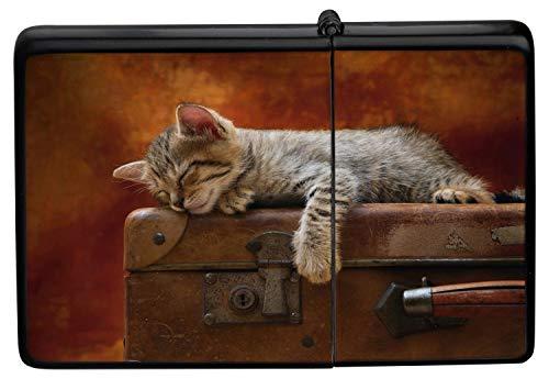 LEotiE SINCE 2004 Feuerzeug Schwarz Benzinfeuerzeug Sturmfeuerzeug Metallfeuerzeug Feuerzeug Schwarze schlafendes Katzenwelpe Koffer