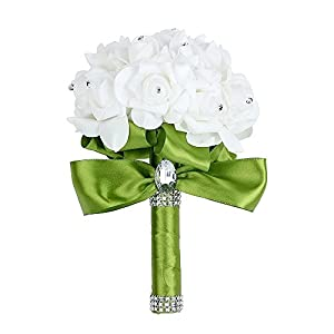 s-ssoy pe wedding bouquet, bridesmaid bouquet bridal holding bouquets with hand made crystals soft ribbons, artificial rose flowers for wedding, party church and wedding decoration,green,1 piece silk flower arrangements
