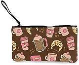 naotaori Vintage Pattern Ofc Offee y Croissant Monedero de Lona Unisex Cambio de Bolsa Mini Billetera Llavero Organizador de Tarjetas con Cremallera para Mujeres y Hombres Mochilas Casuales