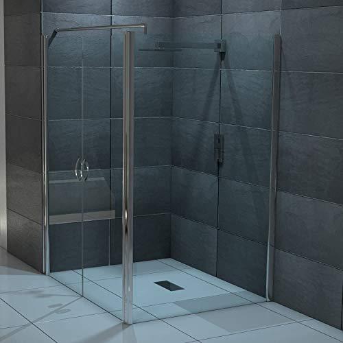 glasshop24 Design Glas Eckdusche mit Pendeltür | Lotuseffekt | 130 x 195cm + Seitenwand 100 x 195cm