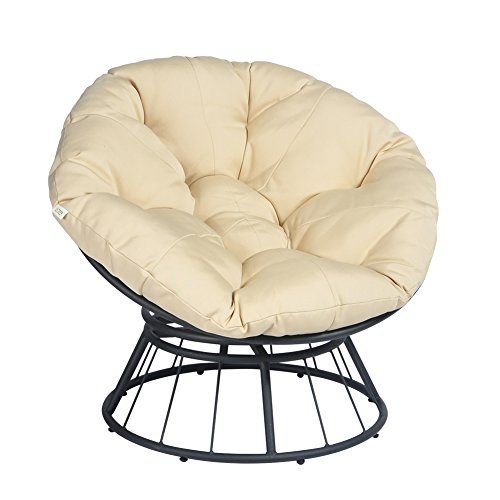 360 Swivel Papasan Chair Thickness Cushions, Indoor Outdoor Furniture Chair Deep Seating Moon Chair Glider, Solid Twill Fabric Khaki Cushion
