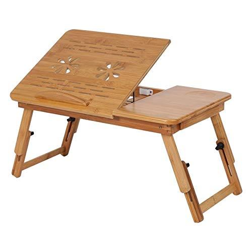 Tivivose 1pc Ajustable de bambú estantes Célula compartida Cama Lap Desk portátil Bandeja del Libro de Lectura del Escritorio del Monitor Soporte Soporte Cama de la Tabla del Ordenador portátil