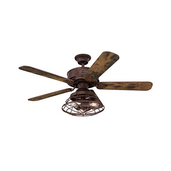Westinghouse Lighting 7220500 Barnett 48-Inch Barnwood Indoor, Dimmable LED Light Kit with Cage Shade, Remote Control Included Ceiling Fan