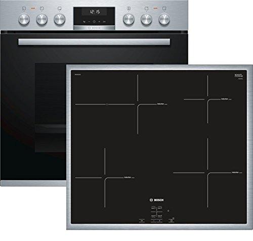 Bosch HND615LS65 Herd-Kochfeld-Kombination (Einbau) / A / 59,4 cm / Edelstahl / Klapptür / LCD-Display / GranitEmail / Induktionskochfeld (herdgesteuert) / 4 Induktions-Kochzonen / Umlaufender Rahmen