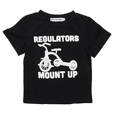 Greenafter Little Boys Funny Short Sleeve T Shirt Toddler Baby Summer Cotton Top Black