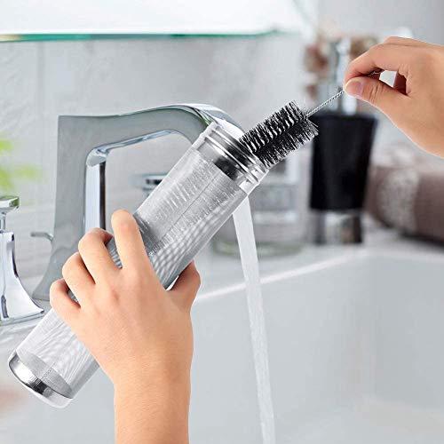 Filtro de lúpulo de cerveza Acero inoxidable con 300 micrómetros Kit de cepillo de limpieza de malla Filtro para lúpulo de cocina con juego de cepillo de limpieza para barriles caseros(7*29cm)