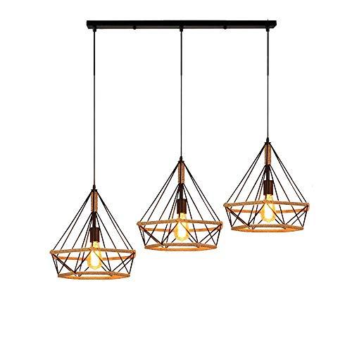 Beautiful KFI Simple Nordic rétro créatif personnalité restaurant bar lustre fer diamant chanvre corde chandel trois, longue longueur de fil réglable 1000mm diamètre 250mm (Rectangulaire)