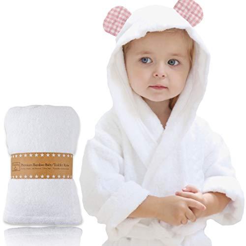 Channing & Yates - Premium Baby Robe - Toddler Robe - Organic Bamboo Hooded Bathrobe Towel - Thick & Soft (Pink)