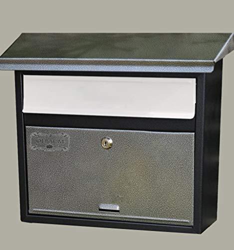 Preisvergleich Produktbild Vintage-Style Design Briefkasten,  Motiv mit Zeitungsrolle XXL,  Metall mit Lackierung,  Flachdach mit Katalogeinwurf,  SCHWARZ-DREIFARBIG-Dsi-Bwe-Esi-ZX-1