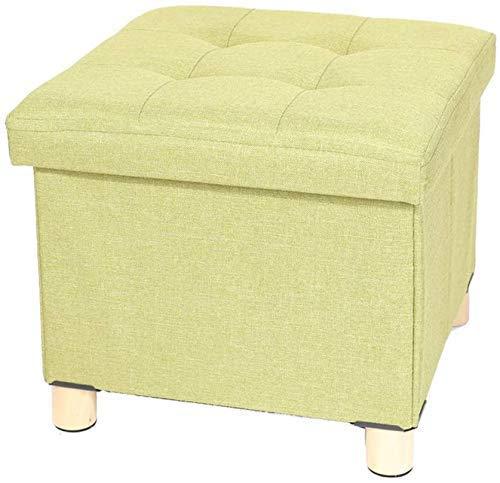MUZIDP Taburete otomano reposapiés taburete de almacenamiento otomanos asiento de lino reposapiés silla caja de almacenamiento de juguetes 38 x 38 x 33 cm (color verde)