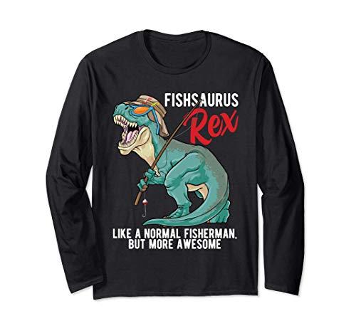 Fishsaurus T Rex Fisher Saurus Rex Boys Dinosaur Fishing Manga Larga