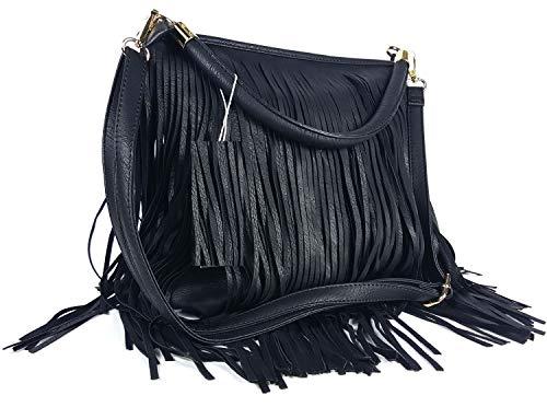 GFM® Kunstleder-Tasche mit weichen Fransen auf beiden Seiten, Schultertasche (Stil 3-1898-KL-00)