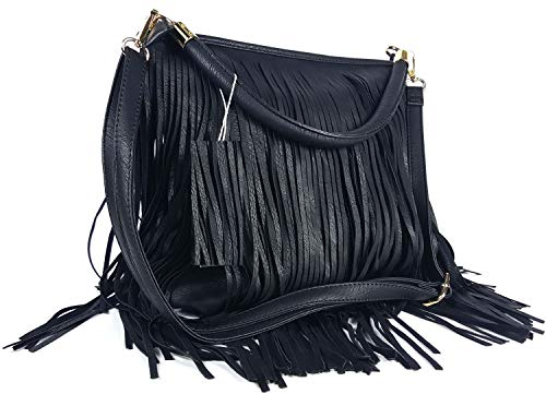 GFM® Kunstleder-Tasche mit weichen Fransen auf beiden Seiten, Schultertasche (Stil 3 - F1618-KL-00)
