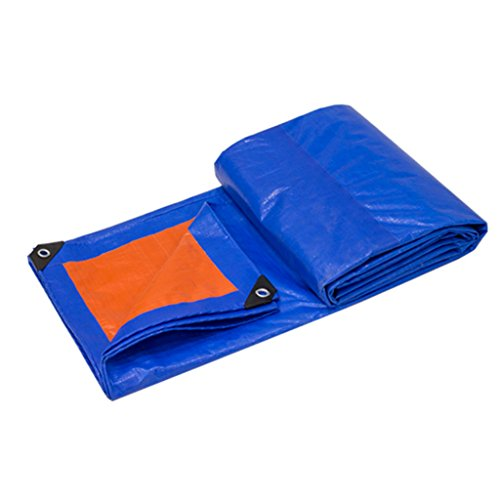 TYHZ Lona Impermeable Azul + Naranja Tarpaulina Lluvia Paño Impermeable Permiso Sol Trauta Triciclo Sol Shade Tarpaulin Toldo BUPEI Paño, Espesor 0.35mm, 180 g / m2 Lona Piscina (Size : 4X5)