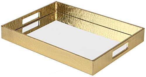 Vixdonos Decorative Mirror Tray Bathrooom Vanity Tray Leather Serving Tray for Breakfast on Coffee Table(Large, Gold)