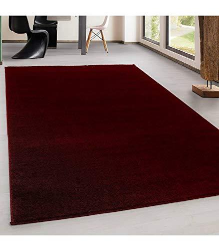 Teppich Kurzflor Modern Wohnzimmer Einfarbig Meliert Uni günstig Versch. Farben - Rot, 200x290 cm