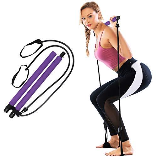 GLKEBY Kit de Barra de Pilates con Banda de Resistencia, Gimnasio Multifuncional portátil para el hogar, Ejercicio de Pilates Stick, Entrenamiento Total del Cuerpo, para Yoga, Fitness