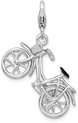 925 Sterling Silver Rh 3 D Enameled Bicycle Lobster Clasp Pendant Charm Necklace Travel Transportation product image
