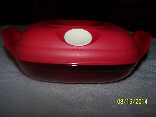 Tupperware Heat N Serve Square Round 2 Cups/red