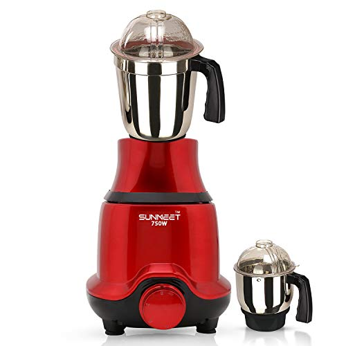 Sunmeet BUTRSA21 750-Watt Mixer Grinder with 2 Jars (1 Wet Jar and 1 Chutney Jar) - Red.Make in India(ISI Certified)
