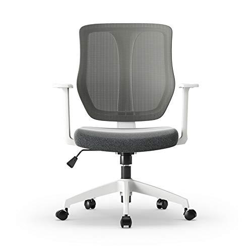Kruk MEIDUO Ergonomische Mesh bureaustoel, verstelbare bureaustoel voor thuiskantoor, gebogen rugleuning met Lumbar-ondersteuning, kantelfunctie, wit/zwart