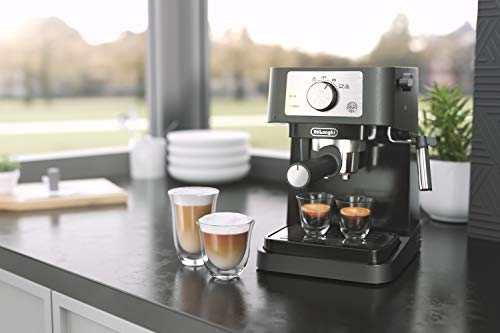 De'longhi stilosa manual espresso machine, latte & cappuccino maker, 15 bar pump pressure + manual milk frother steam… 6 take authentic espresso experience home with stilosa. Brew lattes, cappuccinos and espressos in a comfort of your home. Contemporary and compact design: the perfect addition to your modern kitchen countertop, without taking up too much space, plus it's easy to clean.