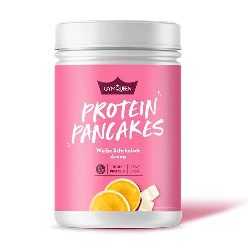 GymQueen Protein-Pancake Backmischung Weiße Schokolade 500g, Proteinreicher Pancake Mix, Pfannkuchen Pulver für deine Extraportion Eiweiss, schnelle und einfache Zubereitung, zuckerreduziert