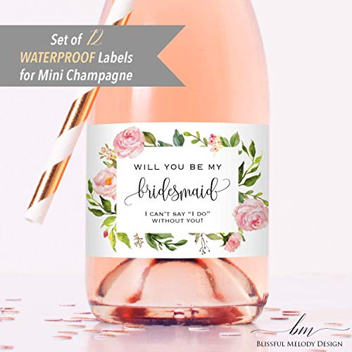 Set of 12 Blush Pink Floral Bridesmaid Proposal Mini Champagne Bottle Labels, WATERPROOF Polyester Mini Wine Bottle Labels, Proposal Idea for Bridesmaids, Maid of Honor & Matron of Honor