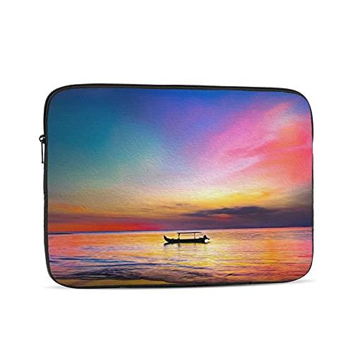 Portátil manga bolsa puesta del sol barco mar ilustraciones Tablets maletín ultraportable lona protectora para