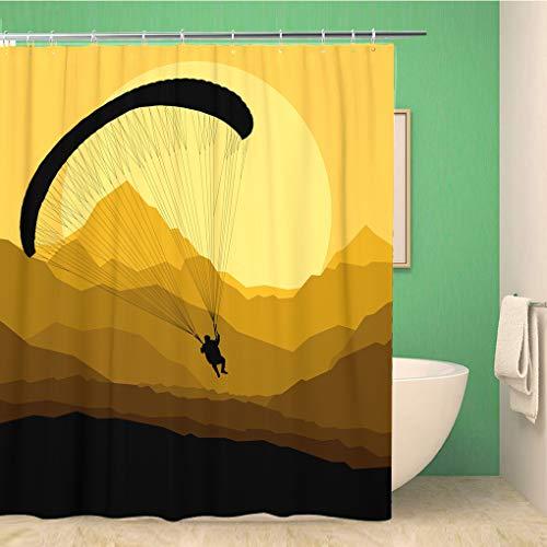 Awowee Decor Duschvorhang Action Paragliding Landscape Aktive Aktivität Adrenalin Abenteuer Luftfahrt Luftfahrt 180 x 180 cm Polyester Stoff Wasserdicht Badvorhänge Set mit Haken für Badezimmer