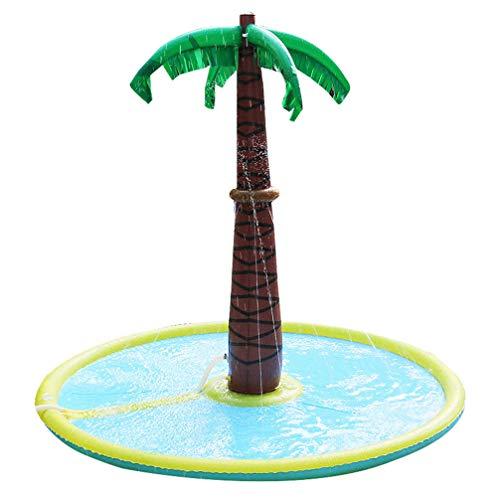 LJYLF Juego Espolvorear Salpicaduras de Agua y Mat Inflable del árbol de Coco Agua Splash Pad portátil for los niños riego cojín de Verano al Aire Libre Espolvorear Piscina Infantil,Coconut Tree