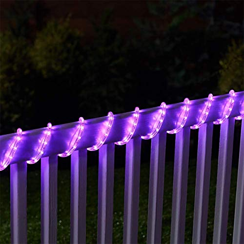 Solar Rope Lights 40ft 100LED, 8 Mode Waterproof Clear Fairy String Light, Solar Powered, for Xmas Garden Backyards Home Decoration (40FT, purple2)