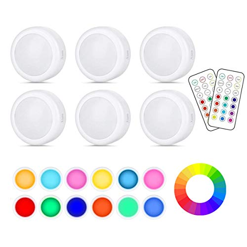 Luces para Gabinetes LED,Cadrim 6 Packs Luces Nocturnas LED Inalámbricas con 2 Remoto,13 Colores Brillo Ajustable Alimentado por Batería (no Incluido) para Iluminación de Armarios etc
