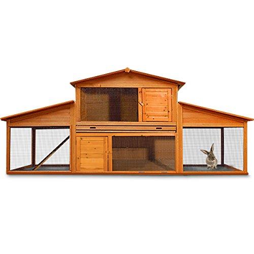 Cadoca Hasenstall Kaninchenstall Hasenkäfig Meerschwein Käfig Freilauf Holz Stall 2 Seitentüren 2 Fronttüren ausziehbare Schublade