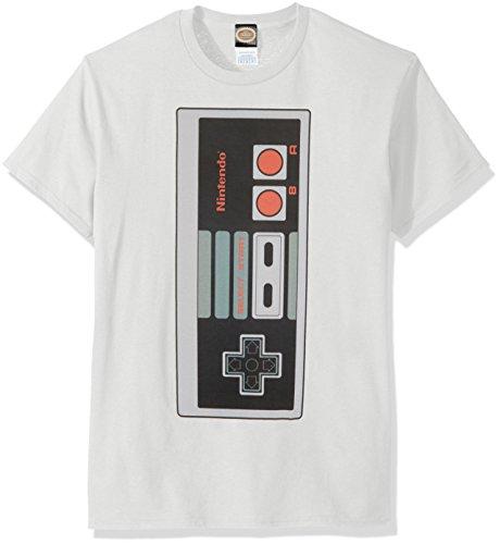 Nintendo Men's Big Controller T-Shirt, White, Large