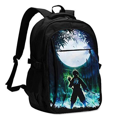 Anime Demon Slayer Kimetsu no Yaiba Zaino per computer portatile con ricarica USB e porta cuffie da uomo e donna, grande borsa leggera per scuola/lavoro/viaggi.