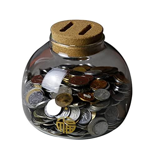 MaxTom Pig Piggy Bank Cajas de Dinero Caja de Ahorro de Monedas Lindo Recuerdo de Vidrio Transparente Regalo de cumpleaños para niños Los niños se Pueden Guardar y Sacar