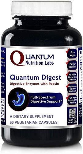 Quantum Digest, 60 Veg caps - Vegetarian Source Enzymes for Full Spectrum Digestive Support for Fats, Carbohydrates, Proteins and Dairy